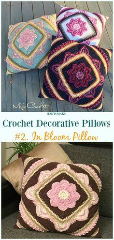 In Bloom Pillow Crochet Free Pattern - #Crochet; Decorative #Pillow; Free Patterns