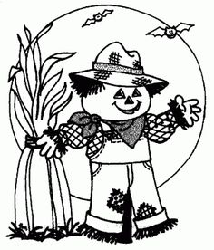 Halloween coloring pages for kids, free printable Cute Scarecrow