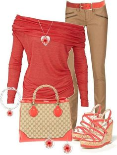 ..I really like this ensemble, Except that I don't care for the bag or shoes.