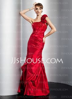 Prom Dresses - $146.99 - Sheath One-Shoulder Floor-Length Taffeta Prom Dresses With Ruffle Beading (018014775) http://jjshouse.com/Sheath-One-shoulder-Floor-length-Taffeta-Prom-Dresses-With-Ruffle-Beading-018014775-g14775