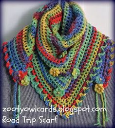Road Trip Scarf by Zooty Owl Cards – free pattern with photo tutorials…. Road Trip Scarf by Zooty Owl Poncho Crochet, Love Crochet, Crochet Scarves, Crochet Clothes, Crochet Stitches, Crocheted Scarf, Crochet Triangle Scarf, Triangle Pattern, Crochet Crafts
