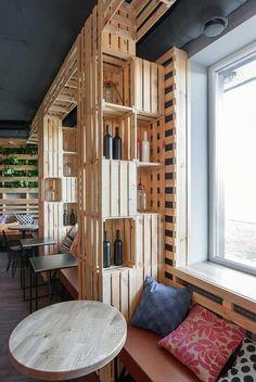 Penka coffee bar wine crate closeup