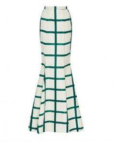 Image of Katie Ermilio Emerald Check Maxi Skirt
