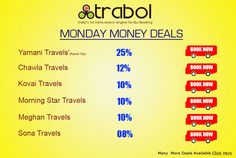Trabol is most advanced  Bus Ticket Booking and Travel Guide portal.You can avail Online Bus Reservation Facility from Trabol. Check Travels Online Booking and book tickets to your favourite Place.Have a happy journey with Trabol.com