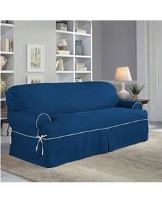 Perfect Fit Perfect Fit Classic Twill T-Sofa Slipcover In Navy from Bed Bath…