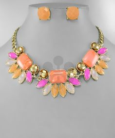Pink/orange statement neck