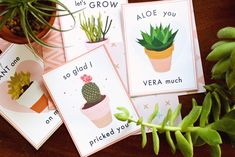 FREE PRINTABLE SUCCULENT VALENTINES 1. so glad I pricked you 2. aloe you vera much 3. plant one on me 4. let's grow old together