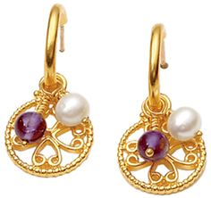 byzantine earrings with amethyst