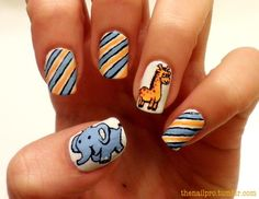 Striped Mani with Elephant and Giraffe Accent Nails
