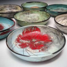 A set of bowls. #ceramics #pottery #potterslife #potterystudio #handmadepottery #handmadeceramics #handthrown #surfacedesign