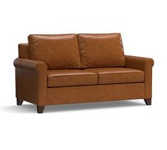 """Cameron Roll Arm Leather Loveseat 66"""", Polyester Wrapped Cushions, Leather Legacy Dark Caramel"""