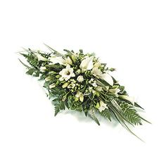 White & Green Spray Childs spray with white calla lilies and freesia and spray roses with complementary foliage. Casket Flowers, Funeral Flowers, Small Flower Arrangements, Small Flowers, Green Funeral, Funeral Sprays, Flower Factory, Casket Sprays, Funeral Tributes