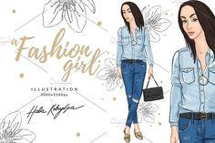 a Fashion Girl Illustration by Hala Kobrynska on @creativemarket
