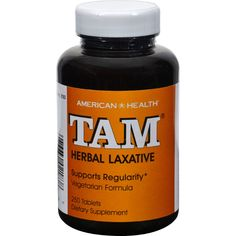 American Health Tam Herbal Laxative - 250 Tablets - American Health Tam Herbal Laxative Description:    Supports Regularity  Vegetarian Formula TAM herbal laxative tablets contain all-natural herbs for the relief of occasional constipation. Our forumla brings together the holistic properties of Cascara Sagrada and Senna two popular herbals that help promote regularity. TAM herbal laxative tablets contain no harsh synthetics so you can be assured of gentle yet efficient relief. Free Of…