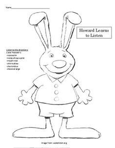 Kindergarten listening ears to go along with Howard B