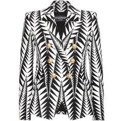 Balmain White/Black Arrow Woven Peaked Lapel Blazer (59,310 DOP) ❤ liked on Polyvore featuring outerwear, jackets, blazers, blazer, balmain, coats, black white, shoulder pad jacket, blazer jacket and black white blazer