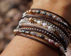 Turquoise Leather Wrap Bracelet Boho Western by fleurdesignz
