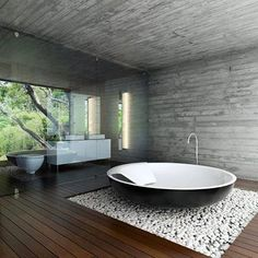 Simple Amaturen design for a round, modern bathtub - Bathroom Project - Bathroom Decor Bathroom Interior Design, Modern Interior Design, Interior Architecture, Modern Interiors, Minimalist Bathroom Design, Dream Bathrooms, Beautiful Bathrooms, Master Bathrooms, Modern Bathrooms