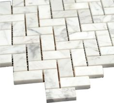 16.45 Bianco Carrara Polished Marble Herringbone Mosaic Tile - transitional - Tile - All Marble Tiles