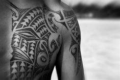 Photo about Closeup detail of Polynesian tattoo style on the chest of a man in Rarotonga, Cook Islands (South Pacific). Image of pacific, indigenous, ethnic - 6768324