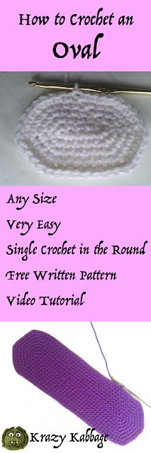 Crochet oval any size, free pattern, video tutorial, single crochet in the round, amigurumi, bag bottom