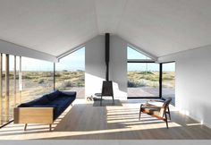 Living area interior design architecture Un cottage sulle spiagge del Kent
