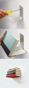 Mr DIY - easy bookshelf 1  http://www.mrdiy2u.com/use-a-book-holder-to-make-a-concealed-bookshelf/