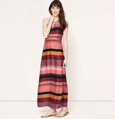 Tall Striped Keyhole Halter Maxi Dress | Loft - Love these colors, not the halter.