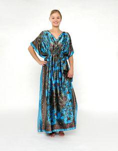 Blaues Kaftan-Kleid mit Muster
