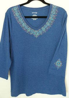 Hand Painted Blue Embellished 3/4 Sleeve Knit by heartbridge, $48.00
