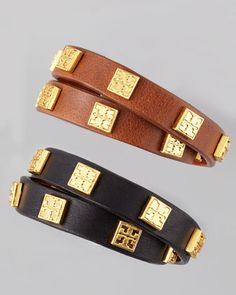 Square Logo-Studded Wrap Bracelet by Tory Burch at Neiman Marcus.