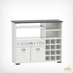 Mueble botellero vintage con armario y cajones color blanco. Perfecto para salón o cocina. No te lo pierdas