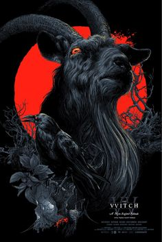 """Black Phillip"" Red Blacklight Variant AP by Vance Kelly Arte Aries, Black Phillip, Rock Poster, Satanic Art, Ange Demon, Culture Pop, Arte Obscura, Dark Art Drawings, Occult Art"