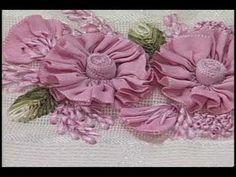 Saiba como fazer um lindo bordado da flor camélia! - YouTube Ribbon Embroidery Tutorial, Silk Ribbon Embroidery, Embroidery Applique, Embroidery Stitches, Embroidery Designs, Diy Lace Ribbon Flowers, Shabby Flowers, Ribbon Art, Fabric Flowers