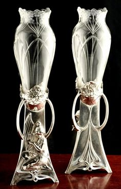 "Pair WMF Art Nouveau Musical Maiden Vases (great for the ""relationship area"" in feng shui. Muebles Art Deco, Art Nouveau Furniture, Furniture Design, Jugendstil Design, Vases, Modernisme, Bronze, Art Nouveau Design, Glass Ceramic"