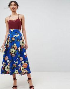 ASOS High Waisted Scuba Midaxi Skirt in Floral Print