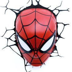 Spiderman 3D FX Deco LED Light Spiderman Mask Wall Decoration Mount NEW   eBay