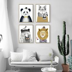 Cartoon Lion Bear Fox Animal Canvas Art Painting Wall Picture Prints Posters By Numbers Creative Kids Room Home Decor No Frame