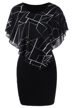 $13.37 Ruffles Printed Bodycon Dress - Black & white geometric modern print flowy top with sexy fitted bodice. sophisticated style, unique fashion, LBD outfit, homecoming dresses, elegant dresses, feminine style, chic outfits.