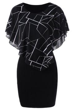 $13.37 Ruffles Printed Bodycon Dress - Black