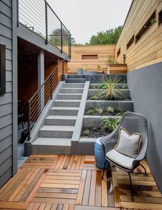 The terraced backyard includes a covered patio and drought-tolerant plantings. P … - Modern Design Exterior, Home Interior Design, Terraced Backyard, Garden Stairs, House Stairs, Small Terrace, Small Patio, Outdoor Stairs, Staircase Design