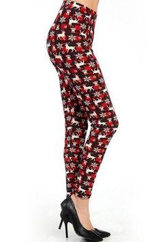 Sugar High Print Leggings Junior Size M New Red//Navy Plaid