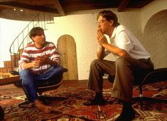 Steve Jobs and Bill Gates chatting in 1991.