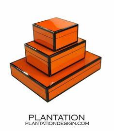 Lacquered Boxes | Orange & Black Trim