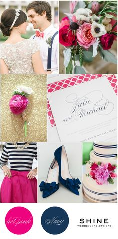 Preppy Hot Pink and Navy Wedding Inspiration from Shine Wedding Invitations   Check out our Hot Pink Wedding Board for photo credit and more inspiration!