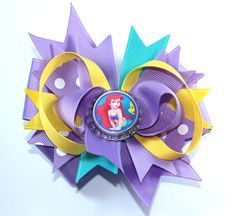 Boutique Princess Ariel Inspired Bottle Cap Hair Bow Clip by prettybowtique on Etsy