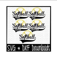 Softball Mom * Dad * Sister * Brother Cutting File - SVG & DXF Files - Silhouette Cameo/Cricut by CorbinsCloset on Etsy