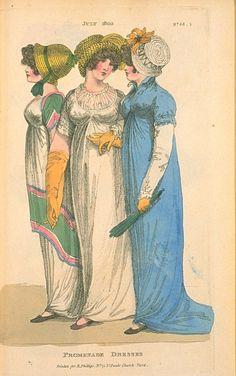 Promenade Dresses, July 1803, Fashions of London & Paris