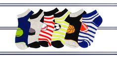 Perfect for the athletic look, your little sport will love these knit-in sport balls and stripes socks! Little Sport, Boys Socks, Athletic Looks, Striped Socks, 6 Packs, Stripe Print, Sporty, Stripes, Kids Rugs