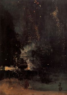 Will never not reblog this painting. thatkindofwoman:  risasa:Nocturne in Black and Gold: The Falling Rocket - James Abbott McNeil Whistler